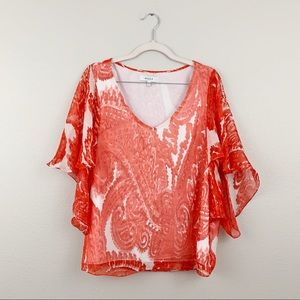Milly Silk Red Paisley Drape Sleeve Blouse